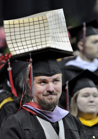 Architecture major Eric Gross is shown during UNLV graduation ceremonies at the Thomas & Mack Center at 4505 S. Maryland Parkway in Las Vegas on Saturday, May 16, 2015. (Bill Hughes/Las Vegas Revi ...