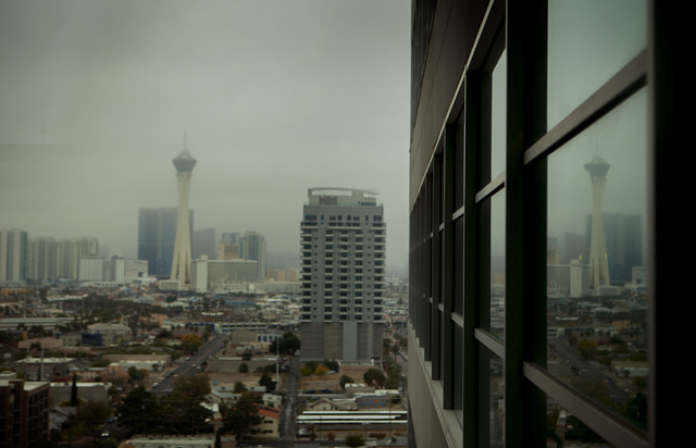 A reflection of Stratosphere Tower taken from Regional Justice Center  on Wednesday, Dec. 03, 2014.  Forecast calls for mostly cloudy with a chance of showers. (Jeff Scheid/Las Vegas Review-Journal)