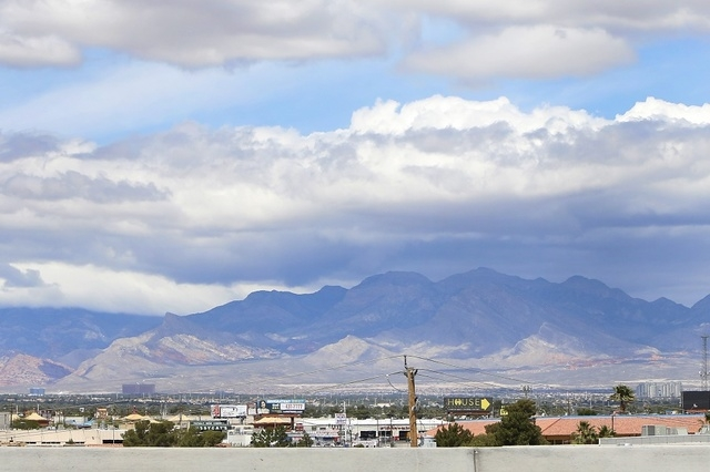 Clouds commenced to loom above the Las Vegas Valley on Friday, May 15, 2015. The Las Vegas Valley is expected to see high temperatures only in the 60s, according to the National Weather Service, a ...