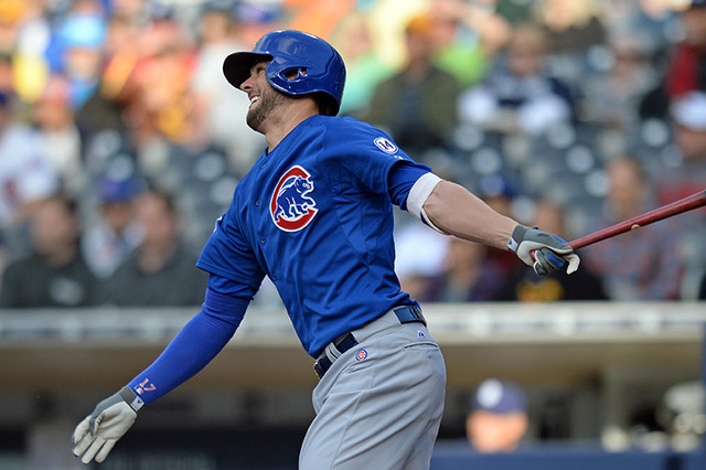Chicago Cubs third baseman Kris Bryant hits a two-run home run during the first inning against the San Diego Padres at Petco Park in San Diego, May 21, 2015. (Jake Roth-USA TODAY Sports)