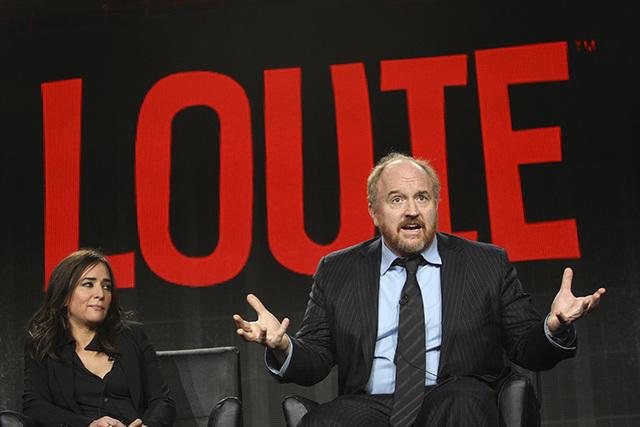"Cast members Pamela Adlon (L) and Louis C.K. participate in the ""Louie"" panel at the Television Critics Association (TCA) Winter Press Tour in Pasadena, California January 18, 2015.   (REUTERS/Dav ..."