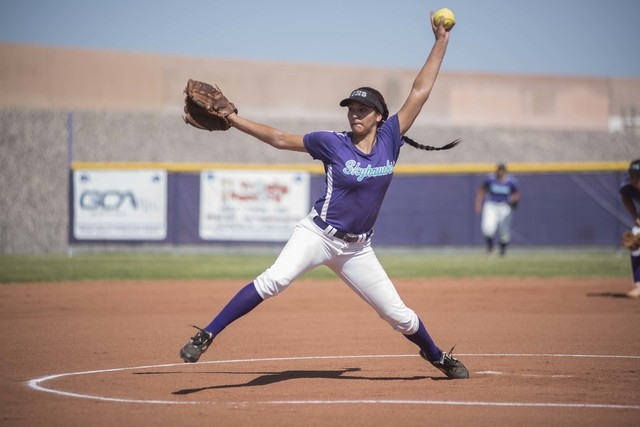 Silverado's Hanna McCall (13) pitches against Rancho during the first round game of the Sunrise Regional tournament played at Silverado's softball field in Las Vegas on Tuesday, May 5, 2015. Ranch ...