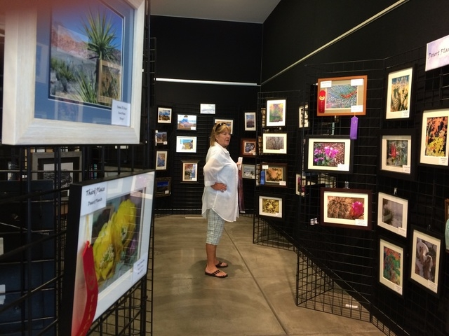Janice Colyar of Mesquite checks out the winning photos of the 2015 Red Rock Canyon Photo Contest May 8, 2015, at the Red Rock Canyon Visitor Center, 1000 Scenic Loop Drive. (Jan Hogan/View) (Clic ...
