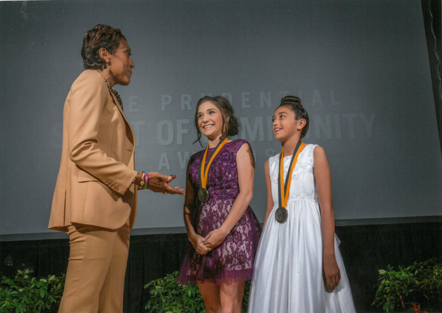 """Good Morning America"" co-anchor Robin Roberts congratulates Nasya Mancini, 17, of Sparks and Lexie Wilder, 11, of Las Vegas on being named Nevada's top two youth volunteers for 2015 by  ..."