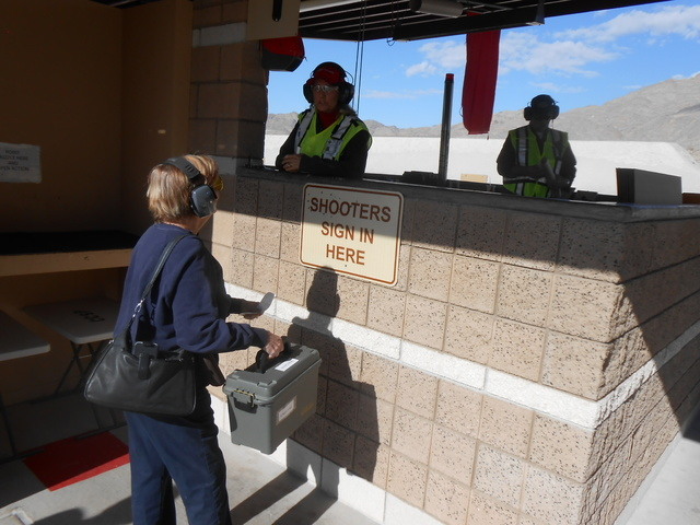 Karen S. (last name withheld) signs in at the monitoring station at the Clark County Shooting Complex, 11357 N Decatur Blvd., Jan. 9, 2015. She said she is there about once a week and was introduc ...