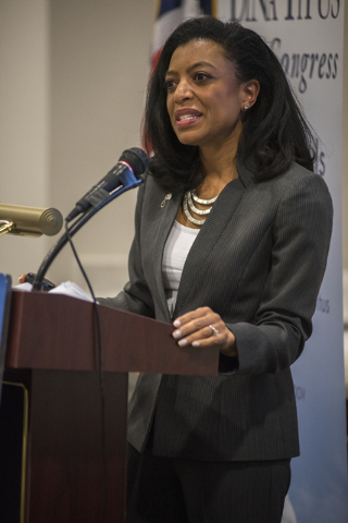 Director Elisa M. Basnight of the VA Center for Women Veterans speaks during a forum at the Public Education Foundation building in Las Vegas on Thursday, May 28, 2015. (Martin S. Fuentes/Las Vega ...