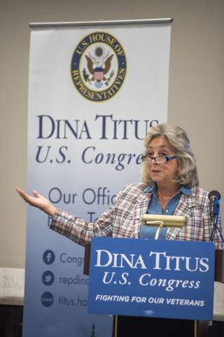 U.S. Rep. Dina Titus, D-Nev., speaks during a forum  at the Public Education Foundation building in Las Vegas on Thursday, May 28, 2015. (Martin S. Fuentes/Las Vegas Review-Journal)