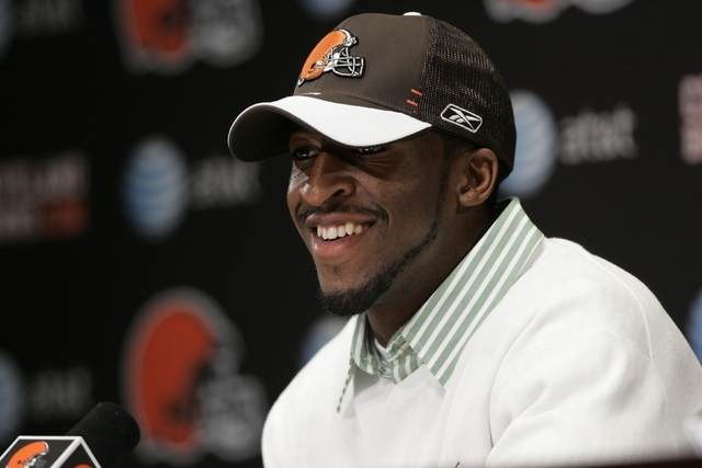 Former UNLV defensive back Eric Wright at a news conference with the Cleveland Browns. (Courtesy of UNLV sports information department)