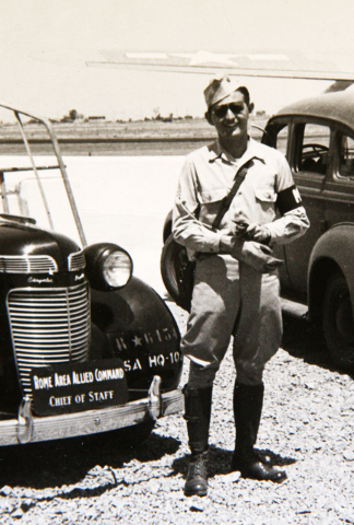 U.S. Army military policeman Gene Stephens is shown in this vintage photograph taken in North Africa in the 1940s during World War II. The photo is shown in the Sun City Summerlin home of Stephens ...