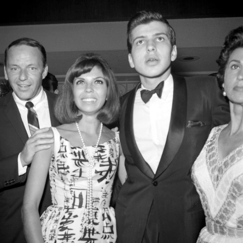Frank Sinatra, from left, daughter Nancy Sinatra and son Frank Sinatra Jr. pose at the Flamingo Hotel and Casino in Las Vegas on August 8, 1963. (Las Vegas News Bureau archive)