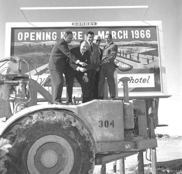 Kirk Kerkorian, center, at Caesars Palace groundbreaking, Jan. 26, 1965. Jay Sarno is second from left. (Courtesy/Las Vegas News Bureau/Jerry Abbott)