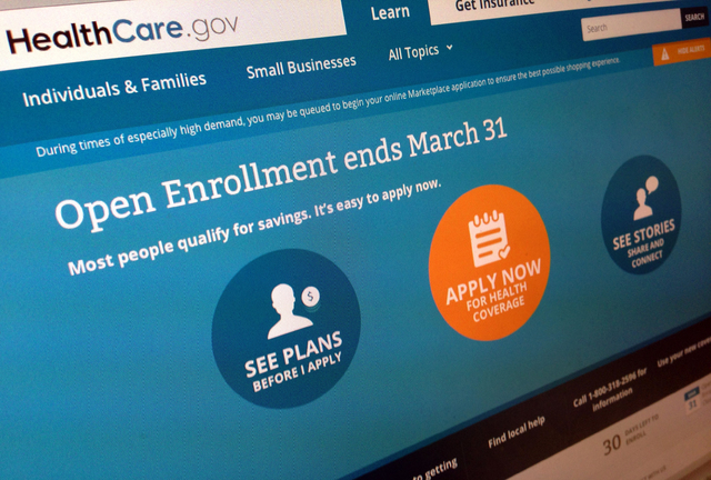 This March 1, 2014 file photo shows part of the website for HealthCare.gov, seen in Washington. (AP Photo/Jon Elswick, File)