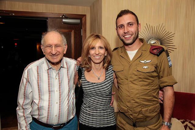 Cpl. Joey reunited with his mother and grandfather meet for the first time in seven months at the Friends of the Israel Defense Forces Las Vegas appreciation event in April. (Special to View)
