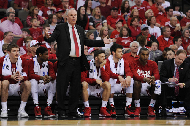 Mar 20, 2015; Omaha, NE, USA; Wisconsin Badgers head coach Bo Ryan during the first half in the second round of the 2015 NCAA Tournament against the Coastal Carolina Chanticleers at CenturyLink Ce ...