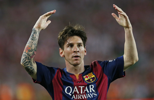 Football - Athletic Bilbao v FC Barcelona - Spanish King's Cup Final - Nou Camp - Barcelona, Spain - 30/5/15 Lionel Messi celebrates scoring the first goal for Barcelona. (Reuters / Albert Gea)