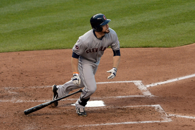 Jun 2, 2015; Kansas City, MO, USA; Cleveland Indians right fielder Brandon Moss (44) connects for a solo home run in the fourth inning against the Kansas City Royals at Kauffman Stadium. (Denny Me ...