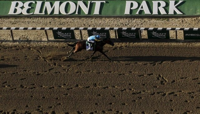 American Pharoah, with jockey Victor Espinoza, nears the finish line to win the 147th running of the Belmont Stakes as well as the Triple Crown, in Elmont, New York June 6, 2015. (REUTERS/Carlo Al ...