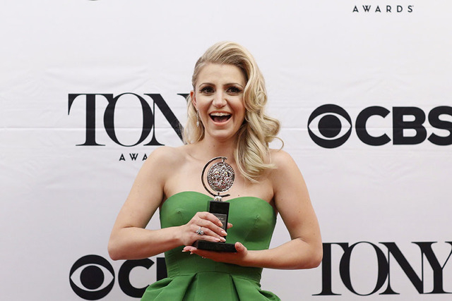 """Annaleigh Ashford poses backstage with her award for Best Performance By An Actress In A Featured Role In A Play for """"You Can't Take It with You"""" at the American Theatre Wing's 69th Annu ..."""