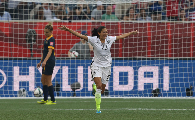 United States forward Christen Press (23) celebrates scoring against Australia in a Group D soccer match in the 2015 women's World Cup at Winnipeg Stadium on June 8, 2015. (Bruce Fedyck-USA TODAY  ...