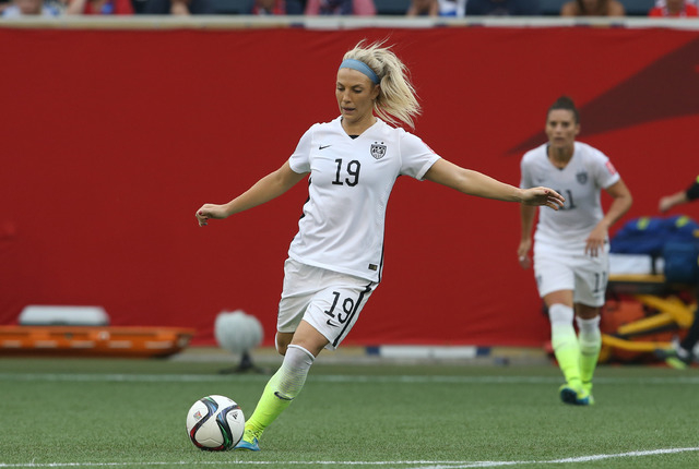 United States defender Julie Johnston (19) controls the ball in a Group D soccer match against Australia in the 2015 women's World Cup at Winnipeg Stadium on June 8, 2015. (Bruce Fedyck-USA TODAY  ...