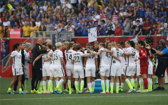 The United States team huddles after defeating Australia 3-1 in a Group D soccer match in the 2015 women's World Cup at Winnipeg Stadium on June 8, 2015. (Bruce Fedyck-USA TODAY Sports)