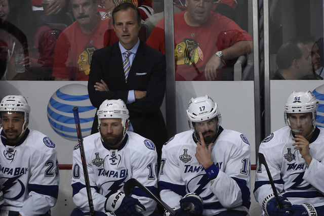 Jun 8, 2015; Chicago, IL, USA; Tampa Bay Lightning head coach Jon Cooper during game three of the 2015 Stanley Cup Final against the Chicago Blackhawks at United Center. (David Banks-USA TODAY Sports)