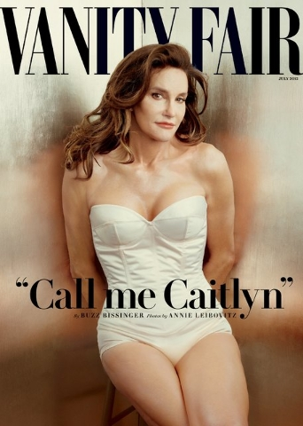 Caitlyn Jenner, formerly known as Bruce Jenner, was featured on the Vanity Fair magazine cover for June. Singer Miley Cyrus used paint and glitter on magazine covers of Jenner and donated the artw ...