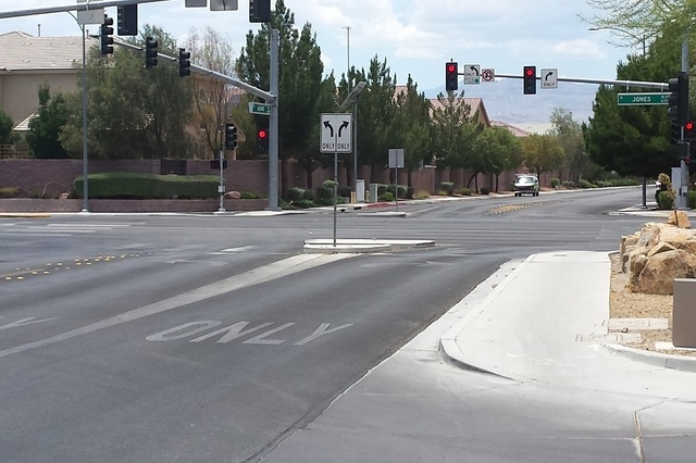 The intersection of Jones Boulevard and Azure Drive allows east- and westbound Azure motorists to turn north and south onto Jones, but not continue straight in this p. (Richard N. Velotta/Review-J ...