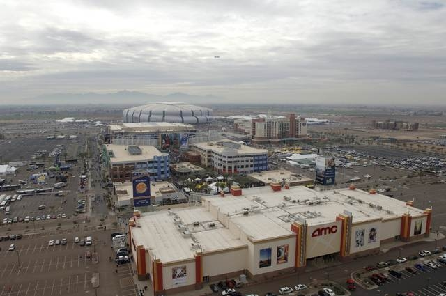 An aerial photo shows Westgate Entertainment District, the University of Phoenix stadium and the Gila River Arena in Glendale in this photo courtesy of City of Glendale, Arizona. A decision by the ...