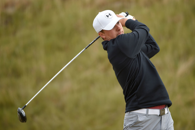 Jun 16, 2015; University Place, WA, USA; Jordan Spieth tees off on the sixth hole during practice rounds on Tuesday at Chambers Bay. (John David Mercer-USA TODAY Sports)