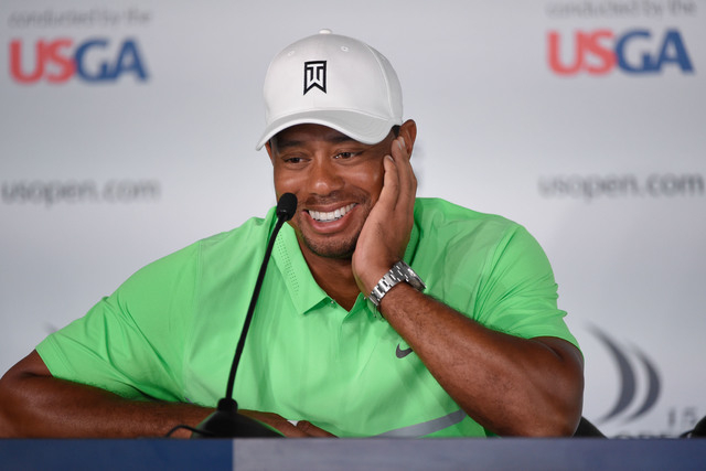 Jun 16, 2015; University Place, WA, USA; Tiger Woods addresses the media in a press conference during practice rounds on Tuesday at Chambers Bay. Mandatory Credit: John David Mercer-USA TODAY Sports