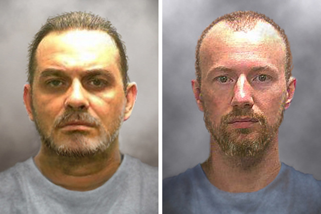Prison inmates Richard Matt, 48, (L) and David Sweat, 35, are seen in a combination of enhanced pictures released by the New York State police June 17, 2015, showing how they might look after esca ...