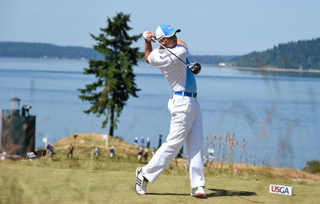 Jun 17, 2015; University Place, WA, USA; Sergio Garcia tees off on the 12th hole during practice rounds on Wednesday at Chambers Bay. (Michael Madrid-USA TODAY Sports)