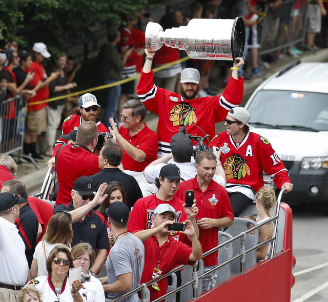 Jun 18, 2015; Chicago, IL, USA; Members of the Chicago Blackhawks during the 2015 Stanley Cup championship parade and rally in Chicago. (Kamil Krzaczynski-USA TODAY Sports)