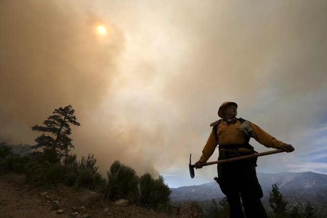 Chon Bribiescas, 59, of the U.S. Forest Service views the edge of a wildfire in Heart Bar in the San Bernardino National Forest near Big Bear Lake, California, United States, June 18, 2015. Wildfi ...