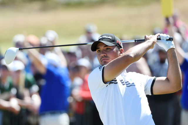Jun 19, 2015; University Place, WA, USA; Jason Day hits his tee shot on the 1st hole in the second round of the 2015 U.S. Open golf tournament at Chambers Bay. (Michael Madrid-USA TODAY Sports)
