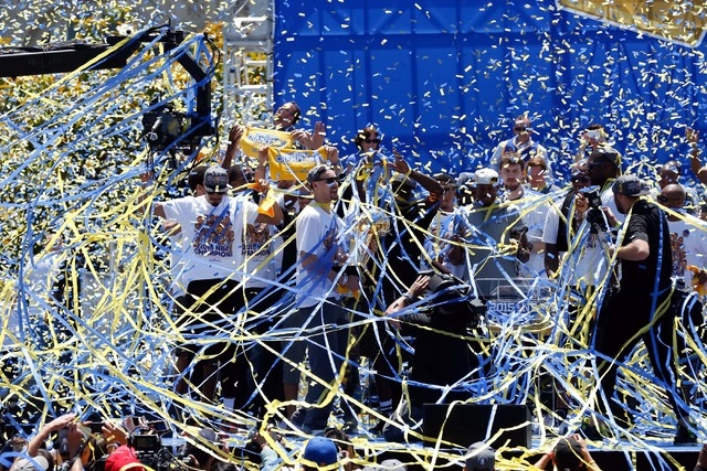 Jun 19, 2015; Oakland, CA, USA; The team celebrates with confetti during the Golden State Warriors 2015 championship celebration at the Henry J. Kaiser Convention Center. (Kelley L Cox-USA TODAY S ...