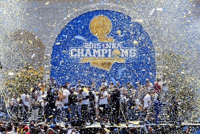 Jun 19, 2015; Oakland, CA, USA; Confetti surrounds the stage during the Golden State Warriors 2015 championship celebration at the Henry J. Kaiser Convention Center. (Kelley L Cox-USA TODAY Sports)