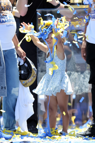 Jun 19, 2015; Oakland, CA, USA; Riley Curry  throws up streamer confetti during the Golden State Warriors 2015 championship celebration at the Henry J. Kaiser Convention Center. (Kelley L Cox-USA  ...