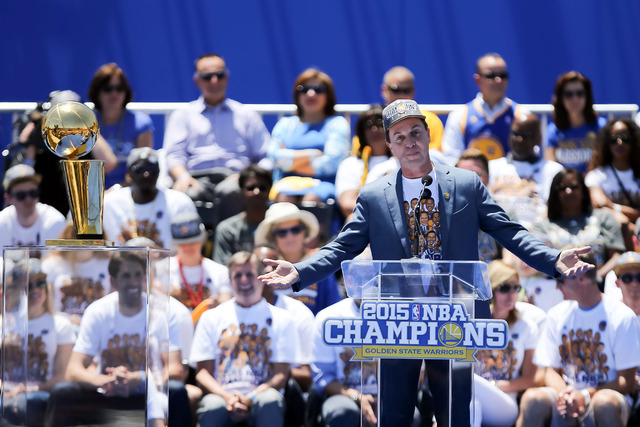 Jun 19, 2015; Oakland, CA, USA; Golden State Warriors owner Joe Lacob during the Golden State Warriors 2015 championship celebration at the Henry J. Kaiser Convention Center. (Kelley L Cox-USA TOD ...