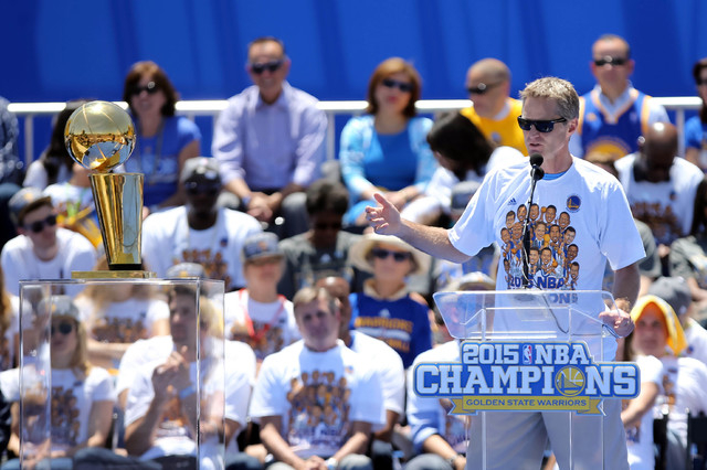 Jun 19, 2015; Oakland, CA, USA; Golden State Warriors head coach Steve Kerr speaks during the Golden State Warriors 2015 championship celebration at the Henry J. Kaiser Convention Center. (Kelley  ...