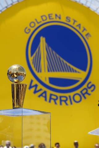 Jun 19, 2015; Oakland, CA, USA; The Larry O'Brien trophy rests on stage during the Golden State Warriors 2015 championship celebration in downtown Oakland. (Cary Edmondson-USA TODAY Sports)