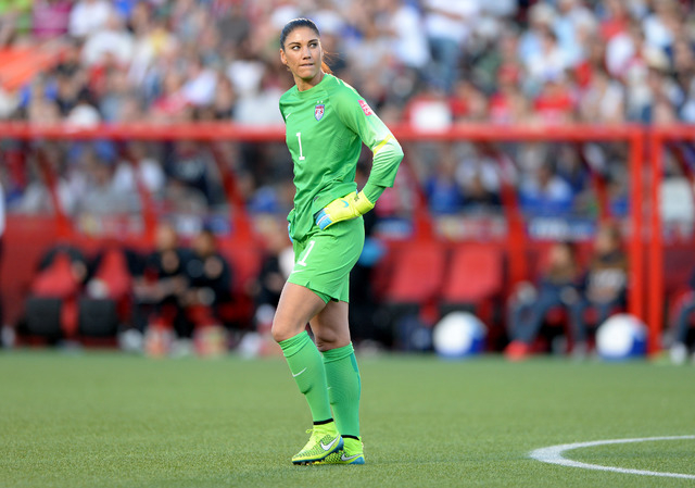 Jun 26, 2015; Ottawa, Ontario, CAN; United States goalkeeper Hope Solo (1) reacts during the first half in the quarterfinals against China in the FIFA 2015 Women's World Cup at Lansdowne Stadium.  ...
