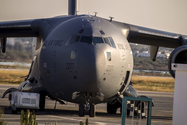A Royal Air Force (RAF) C17 jet is seen on the tarmac ready to transport British tourists, who were wounded during the Imperial Marhaba hotel attack by a gunman, in Monastir airport, Tunisia, June ...