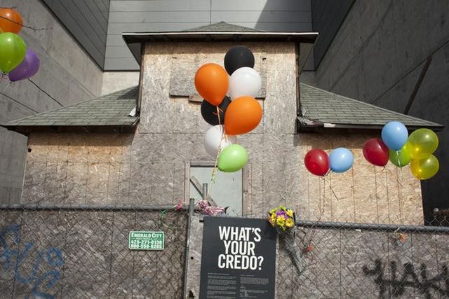 """A century-old Seattle house formerly owned by Edith Macefield and featured in a marketing stunt to publicize Walt Disney Co's balloon adventure movie """"Up"""", is pictured in Seattle, Washington March ..."""