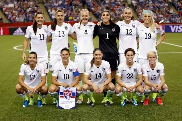 Jun 30, 2015; Montreal, Quebec, CAN; The United States starters pose for a team photo prior to the semifinals of the FIFA 2015 Women's World Cup against Germany at Olympic Stadium. (Michael Chow-U ...