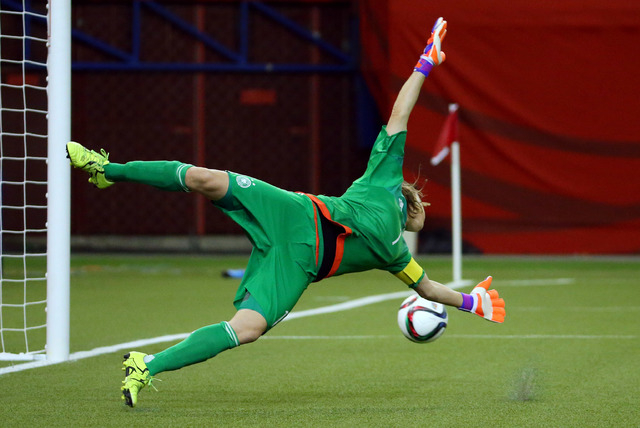 Jun 30, 2015; Montreal, Quebec, CAN; Germany goalkeeper Nadine Angerer (1) dives and misses a shot during the second half against the United States in the semifinals of the FIFA 2015 Women's World ...