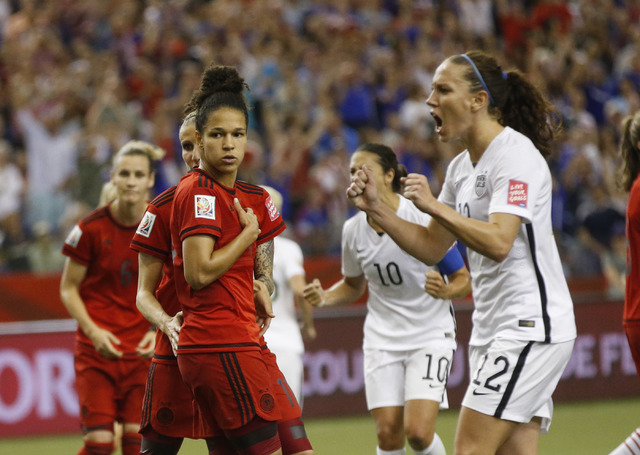 Jun 30, 2015; Montreal, Quebec, CAN; Germany forward Celia Sasic (13) reacts after missing a penalty kick against the United States during the second half of the semifinals of the FIFA 2015 Women' ...