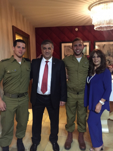 From left, 1st Lt. Neri; FIDF National Director and CEO Maj. Gen. (Res.) Meir Klifi-Amir; Cpl. Joey; and FIDF Las Vegas Gala Chair Dana Werner at the Friends of the Israel Defense Forces Las Vegas ...