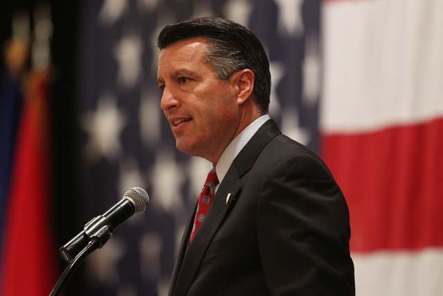 Gov. Brian Sandoval speaks during a mobilization ceremony for the Nevada Army National Guard's 72nd Military Police Company Thursday, May 28, 2015 at the Gold Coast. (Sam Morris/Las Vegas Review-J ...